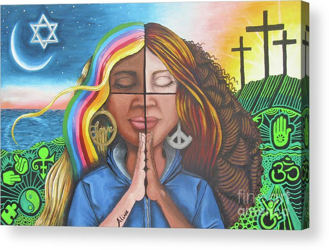 Love Acrylic Print featuring the painting The Prayer by Alima Newton
