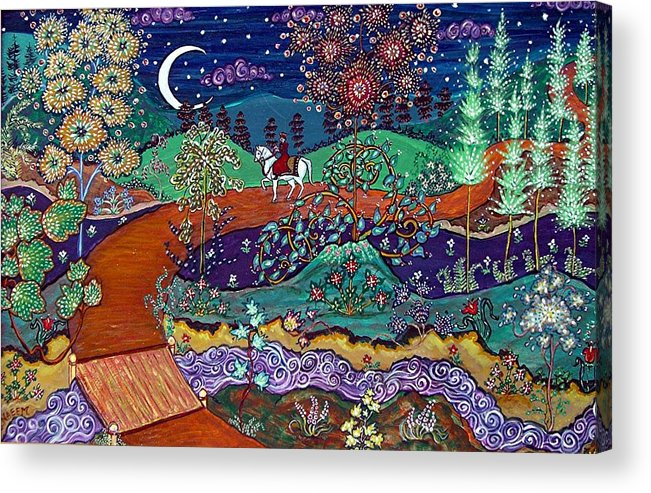 Night Acrylic Print featuring the painting The Return by Caroline Eve Urbania