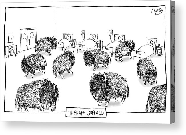 Therapy Buffalo Acrylic Print featuring the drawing Therapy Buffalo by The Surreal McCoy