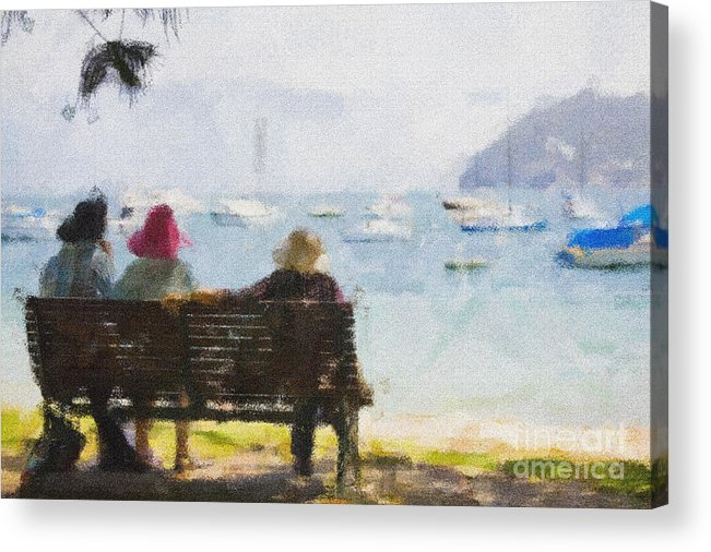 Impressionism Impressionist Water Boats Three Ladies Seat Acrylic Print featuring the photograph Three ladies by Sheila Smart Fine Art Photography