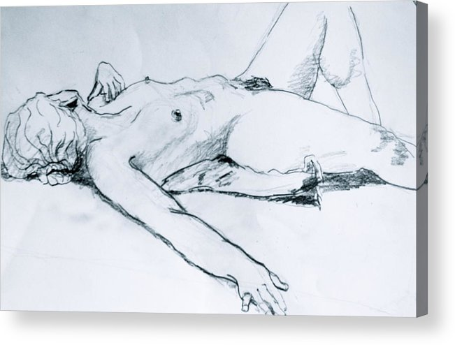 Female Nude Acrylic Print featuring the painting Time Out by Dan Earle