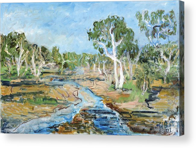 Australia Trees Eucalyptus Alice Springs River Dry White Bark Blue Sky Acrylic Print featuring the painting Todd River by Joan De Bot