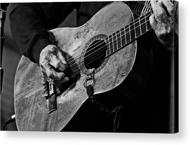 Willie Nelson And His Guitar Trigger. Acrylic Print featuring the photograph Trigger and Willie by Ty Helbach