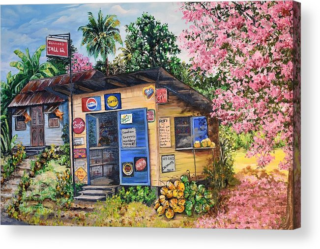Trinidad And Tobago Shop Acrylic Print featuring the painting Trinidad Country Parlour by Karin Dawn Kelshall- Best