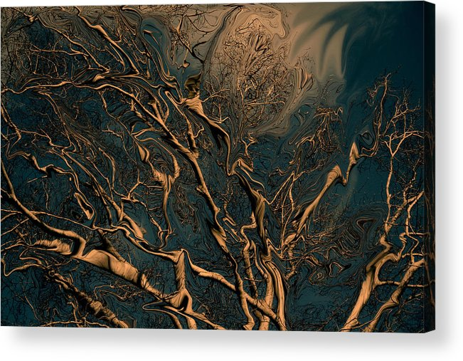 Trees Nature Abstract Digital Painting Acrylic Print featuring the photograph Trippy Tree by Linda Sannuti