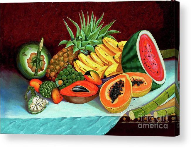 Coconut Acrylic Print featuring the painting Tropical Fruits by Jose Manuel Abraham