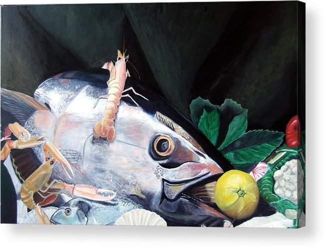 Still Life Acrylic Print featuring the painting Tuna Head in Venice by Michael Henderson