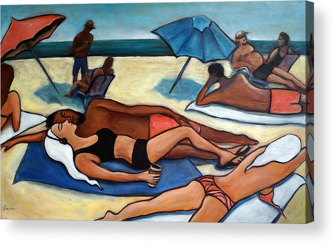 Beach Scene Acrylic Print featuring the painting Un Journee a la plage by Valerie Vescovi