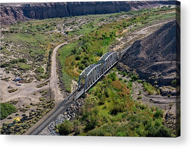 Aerial Shots Acrylic Print featuring the photograph Up Tracks Cross The Mojave River by Jim Thompson