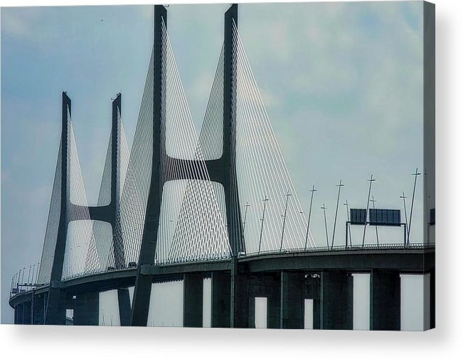 Vasco Da Gama Bridge Acrylic Print featuring the photograph Vasco da Gama Bridge in Lisbon by Kirsten Giving