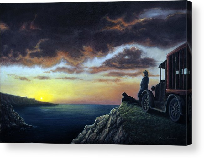 Ocean Acrylic Print featuring the painting Viewing The Bay by Lance Anderson