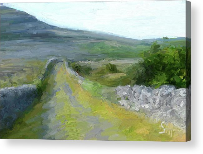 County Clare Acrylic Print featuring the digital art Walking the Burren by Scott Waters