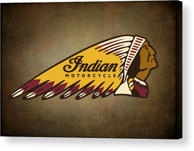 Motorcycles Acrylic Print featuring the digital art War Bonnet Indian Motorcycle Vintage Logo by Daniel Hagerman