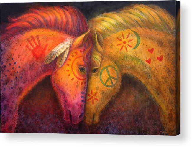 Horse Acrylic Print featuring the painting War Horse and Peace Horse by Sue Halstenberg