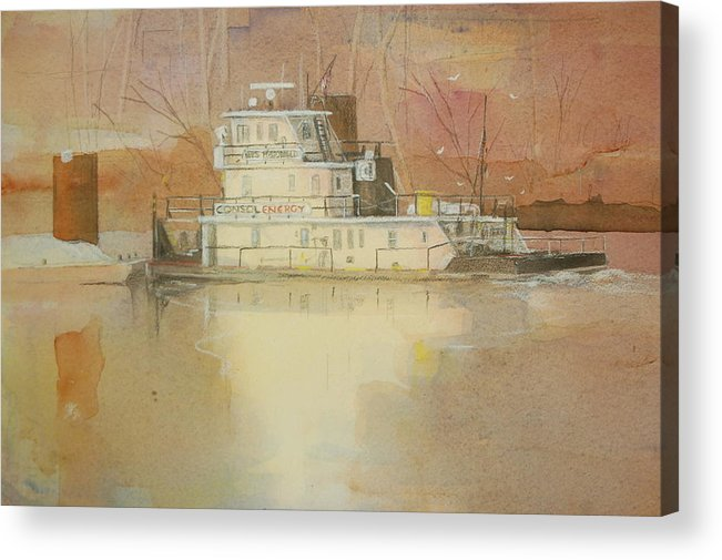 Wes Mcdonald Barge Acrylic Print featuring the painting Wes McDonald by Robert Yonke