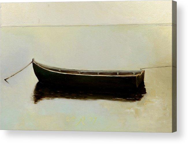 Landscape Boat Quiet Light Acrylic Print featuring the painting White Day by Raimonda Jatkeviciute-Kasparaviciene