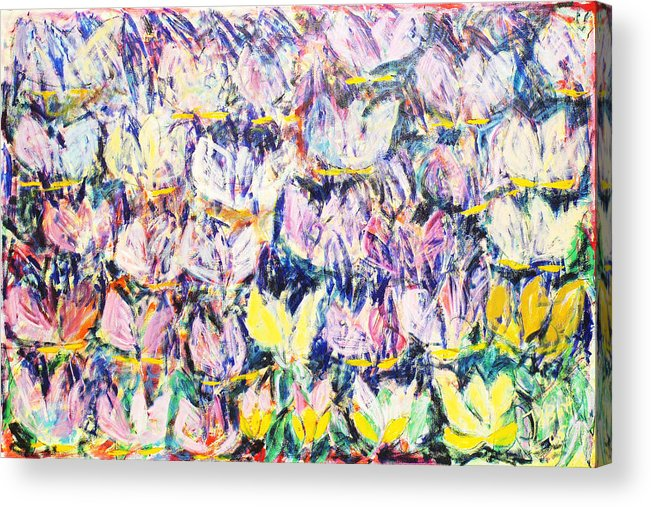 Abstract Flowers Tulips White Pink Yellow Green Blue Acrylic Print featuring the painting Wild Tulips by Joan De Bot