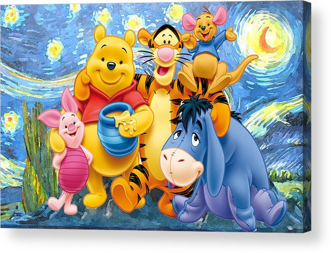 Winnie The Pooh Starry Night Acrylic Print featuring the digital art Winnie the Pooh Starry Night by Midex Planet