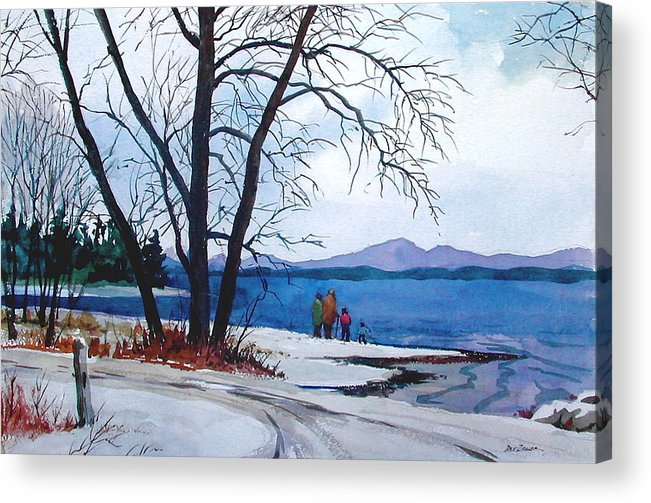 Winter Acrylic Print featuring the painting Winter at the Lake by Faye Ziegler