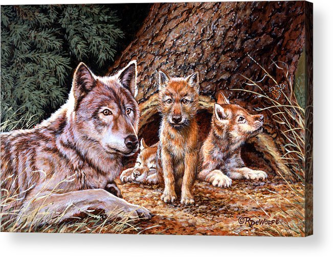 Wolf Acrylic Print featuring the painting Wolf Den by Richard De Wolfe