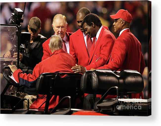 Red Schoendienst Acrylic Print featuring the photograph 2011 World Series Game 6 - Texas by Jamie Squire