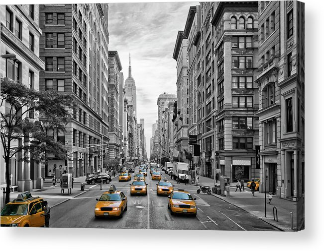 Fifth Avenue Acrylic Print featuring the photograph 5th Avenue NYC Traffic by Melanie Viola