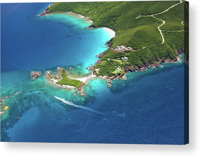 Water's Edge Acrylic Print featuring the photograph Aerial Shot Of West End, St. Thomas, Us by Cdwheatley