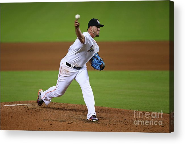 People Acrylic Print featuring the photograph Atlanta Braves V Miami Marlins by Rob Foldy