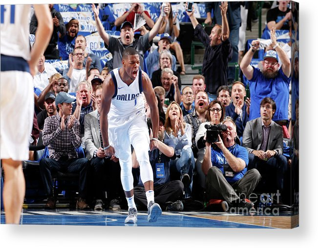 Nba Pro Basketball Acrylic Print featuring the photograph Atlanta Hawks V Dallas Mavericks by Glenn James