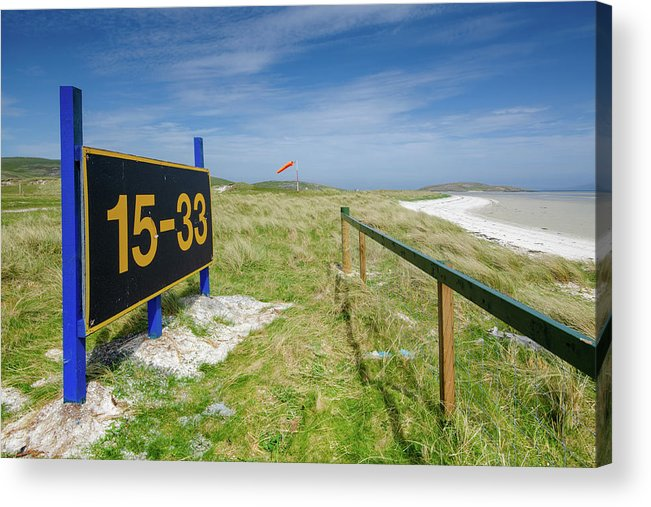 Barra Airport Acrylic Print featuring the mixed media Barra Airport by Smart Aviation
