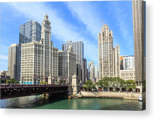 Downtown District Acrylic Print featuring the photograph Buildings By The Chicago River, Chicago by Fraser Hall