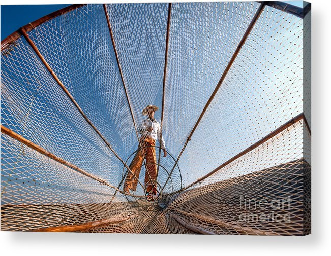 Rural Acrylic Print featuring the photograph Burma Myanmar Inle Lake Fisherman On by Banana Republic Images