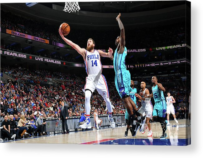 Nba Pro Basketball Acrylic Print featuring the photograph Charlotte Hornets V Philadelphia 76ers by Jesse D. Garrabrant