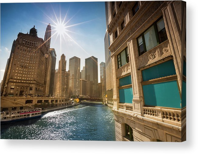 Downtown District Acrylic Print featuring the photograph Chicago Cityscape And River by Pgiam