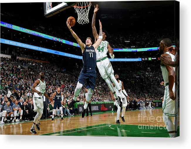 Nba Pro Basketball Acrylic Print featuring the photograph Dallas Mavericks V Boston Celtics by Brian Babineau