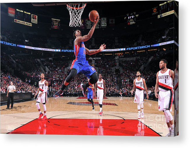 Nba Pro Basketball Acrylic Print featuring the photograph Detroit Pistons V Portland Trail Blazers by Sam Forencich