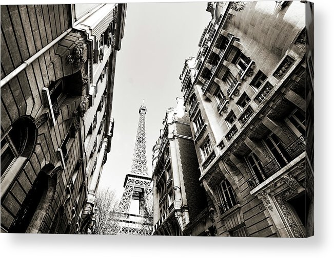 Built Structure Acrylic Print featuring the photograph Eiffel Tower Between Buildings In by Flory