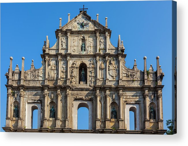 Chinese Culture Acrylic Print featuring the photograph Facade Of St. Pauls Cathedrail, Macau by Stuart Dee