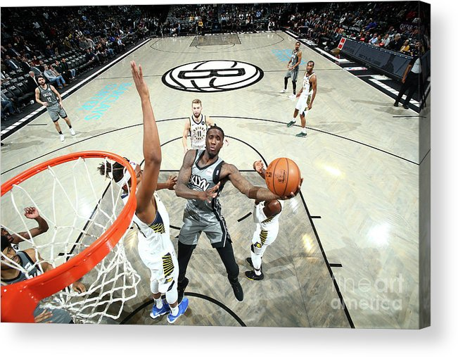 Nba Pro Basketball Acrylic Print featuring the photograph Indiana Pacers V Brooklyn Nets by Nathaniel S. Butler