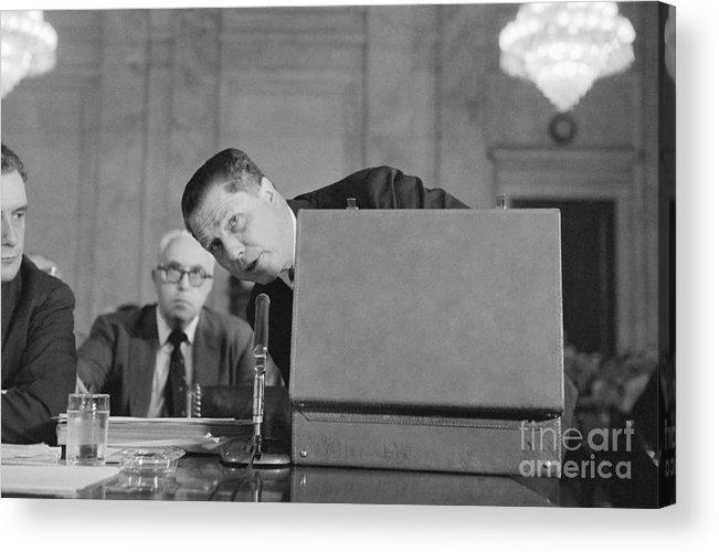 Mature Adult Acrylic Print featuring the photograph Jimmy Hoffa Testifying Before Senate by Bettmann