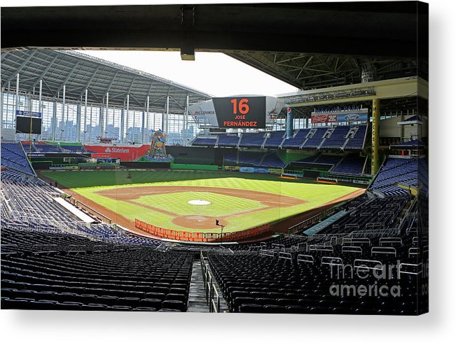 American League Baseball Acrylic Print featuring the photograph Miami Marlins News Conference by Joe Skipper