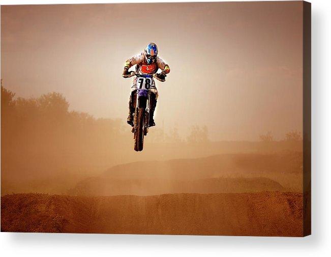 Crash Helmet Acrylic Print featuring the photograph Motocross Rider by Design Pics