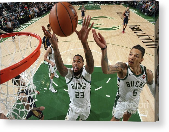Nba Pro Basketball Acrylic Print featuring the photograph New Orleans Pelicans V Milwaukee Bucks by Gary Dineen