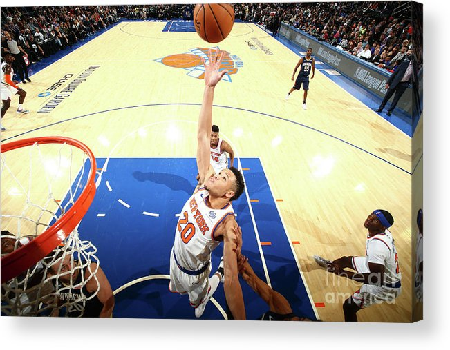 Nba Pro Basketball Acrylic Print featuring the photograph New Orleans Pelicans V New York Knicks by Nathaniel S. Butler