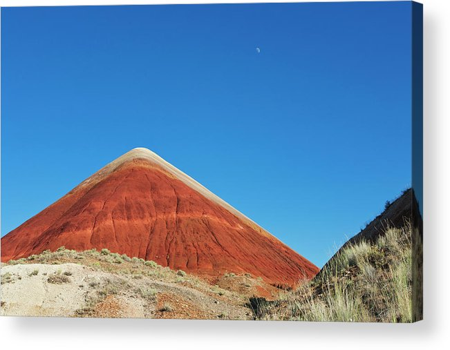Scenics Acrylic Print featuring the photograph Painted Hills Desert With Quarter Moon by Sasha Weleber