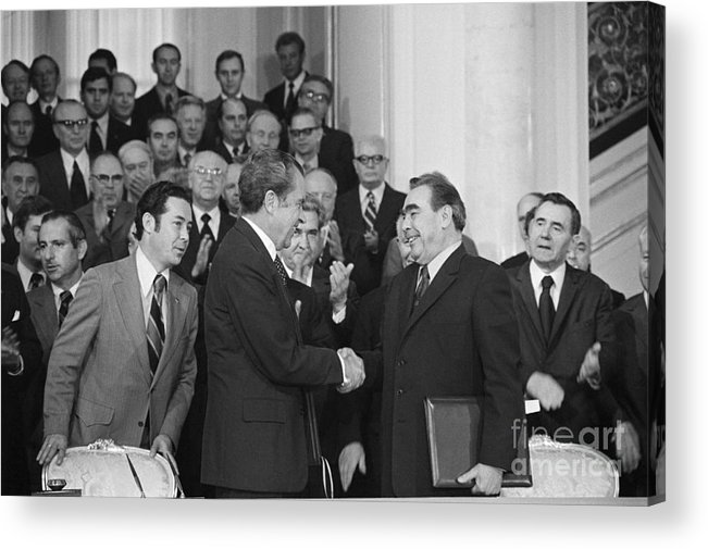 Trading Acrylic Print featuring the photograph President Richard Nixon And Premier by Bettmann