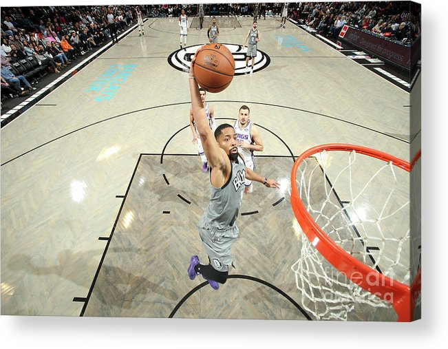 Nba Pro Basketball Acrylic Print featuring the photograph Sacramento Kings V Brooklyn Nets by Nathaniel S. Butler
