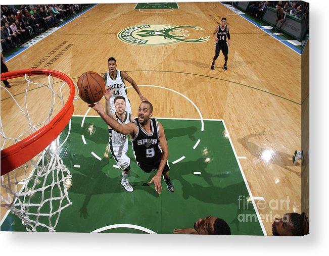 Nba Pro Basketball Acrylic Print featuring the photograph San Antonio Spurs V Milwaukee Bucks by Gary Dineen