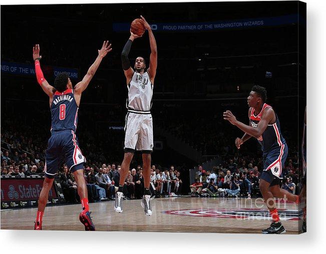 Nba Pro Basketball Acrylic Print featuring the photograph San Antonio Spurs V Washington Wizards by Ned Dishman