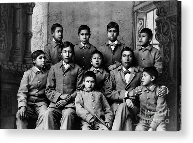 Education Acrylic Print featuring the photograph Students At Carlisle Indian School by Bettmann